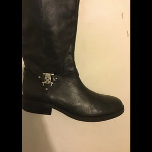 Leather knee black boots in Vince camuto
